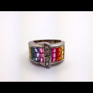 Rainbow sterling belt buckle ring